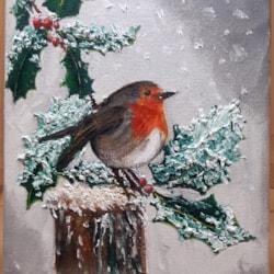 Christmas card Robin