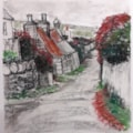 Cregneash - Charcoal and chalk pastels (limited palette) - 21st June 2021