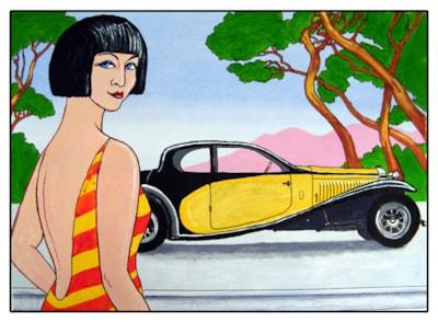 Deco girl & car-small