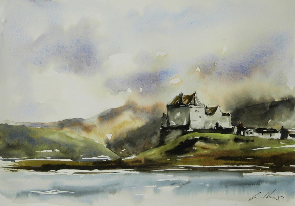 Duart Castle, watercolour by Graham Kemp.