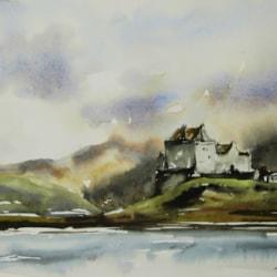 Duart Castle, watercolour by Graham Kemp.
