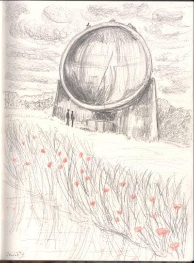Dungeness Sound Mirror concept sketch 2020-11-08