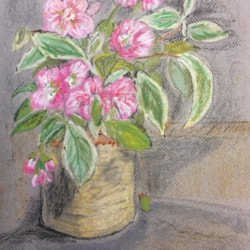 Flowers in the Church Porch - Oil Pastel 27th Sept 2021