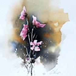 Flowers, watercolour by Graham Kemp.