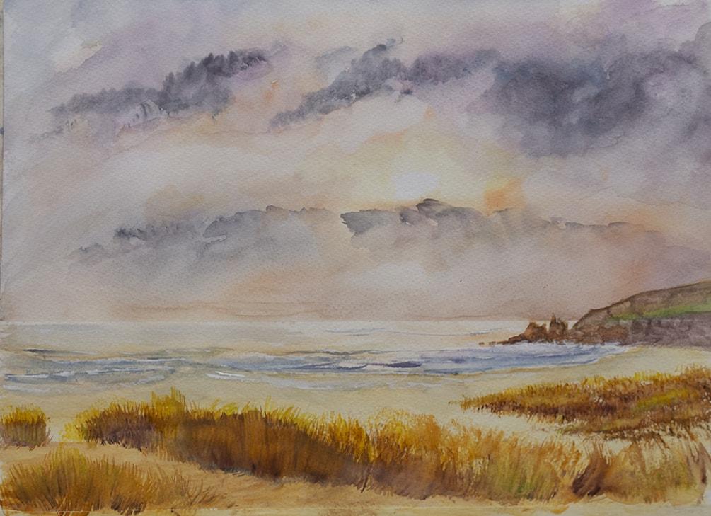 Freshwater Bay West Sunset with dunes 72dpi