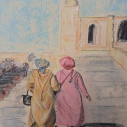 Friends Reunitied - Moroccan Ladies - Pastel and pastel pencil on Mi Tientes Sanded Paper - 30th April 2021