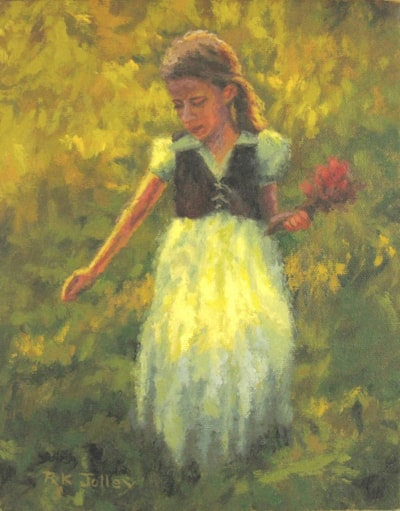 Gathering Flowers, 8 x 10, oil on canvas, 2021, 2152 x 2750
