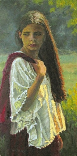 Girl with a Red Shawl, 8.5x17, oil on board 249x500