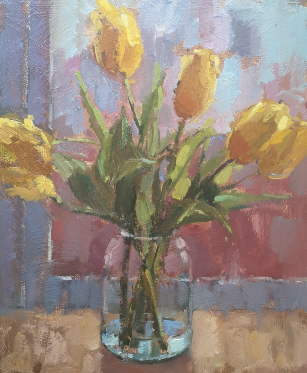 Glass Jar with Yellow Tulips