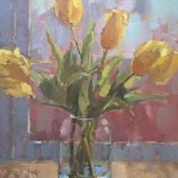 Glass Jar with Yellow Tulips