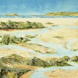Gwithian Towards Godrevy Lighthouse, Oil On Canvas, 96 x 101 cm, 2020, www.eddiefordham.compg