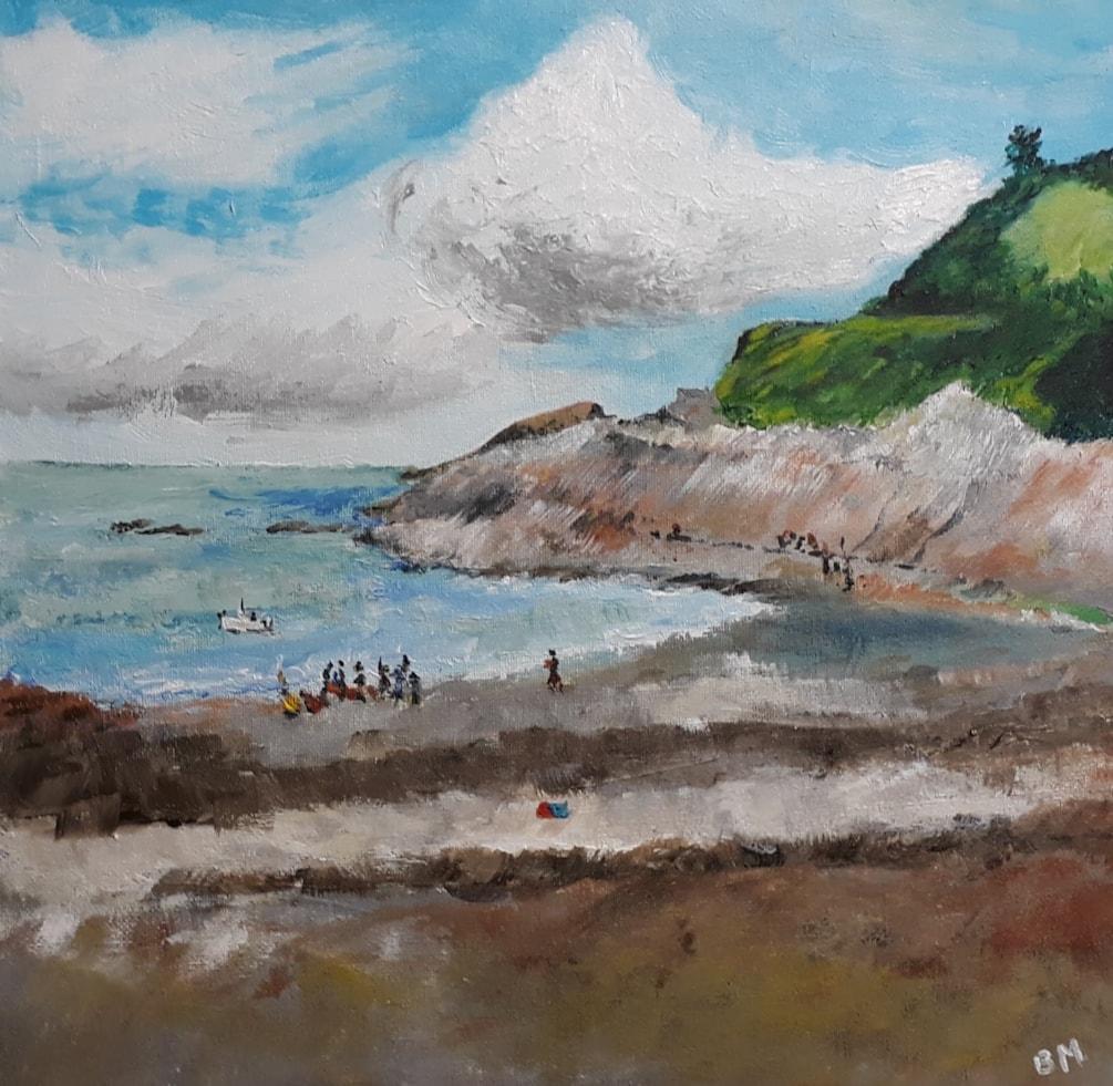 Half Tide at Combe Martin - 30 x 30 cm acrylic on canvas board - 4th Oct 2020