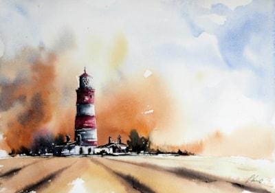 Happisbough Lighthouse watercolour Graham Kemp