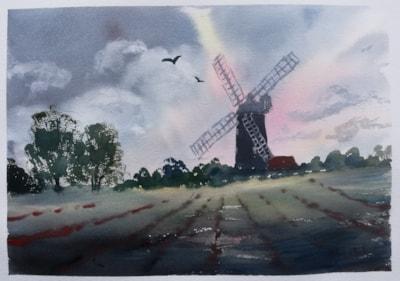 Harriers near Tower Mill, Norfolk