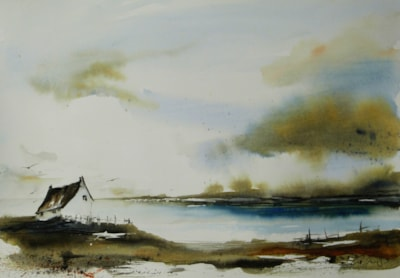 House by Loch, watercolour by Graham Kemp.