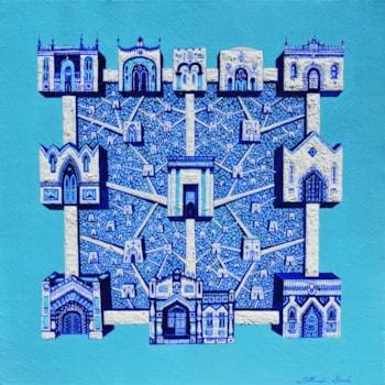 Jerusalem, by Ghenadie Sontu, oil on canvas, 60 x 60 cm, 2020 mic