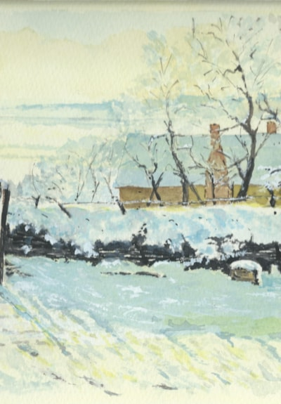 La pie. An homage to Claude Monet. Watercolour by John Shipley