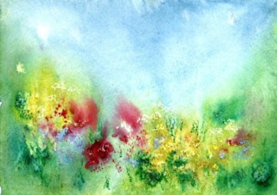Late Spring Hedgerow - watercolour with oil pastel - Celia Olsson