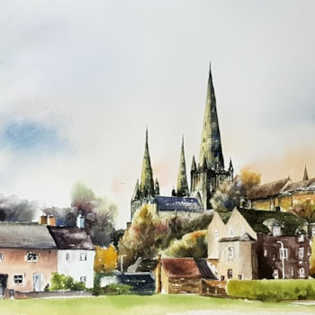 Lichfield Cathedral, watercolour by Graham Kemp