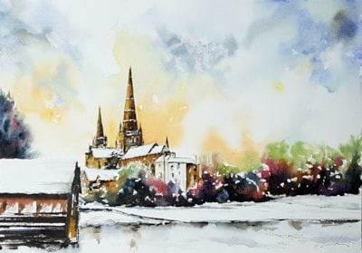 Lichfield Cathedral, watercolour by Graham Kemp(1)