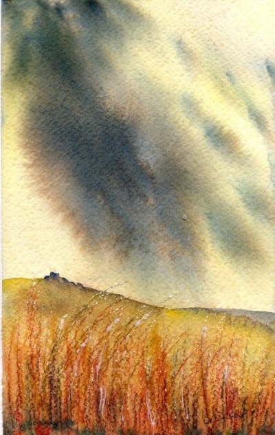 Moor under storm clouds - watercolour and ink - Celia Olsson