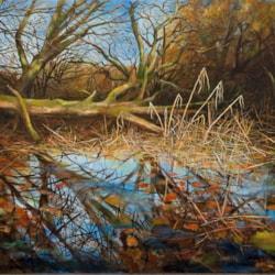 Morning Burrator Reflections 2. Oil on canvas, 710x915cm (28x36), 2020, www.eddiefordham