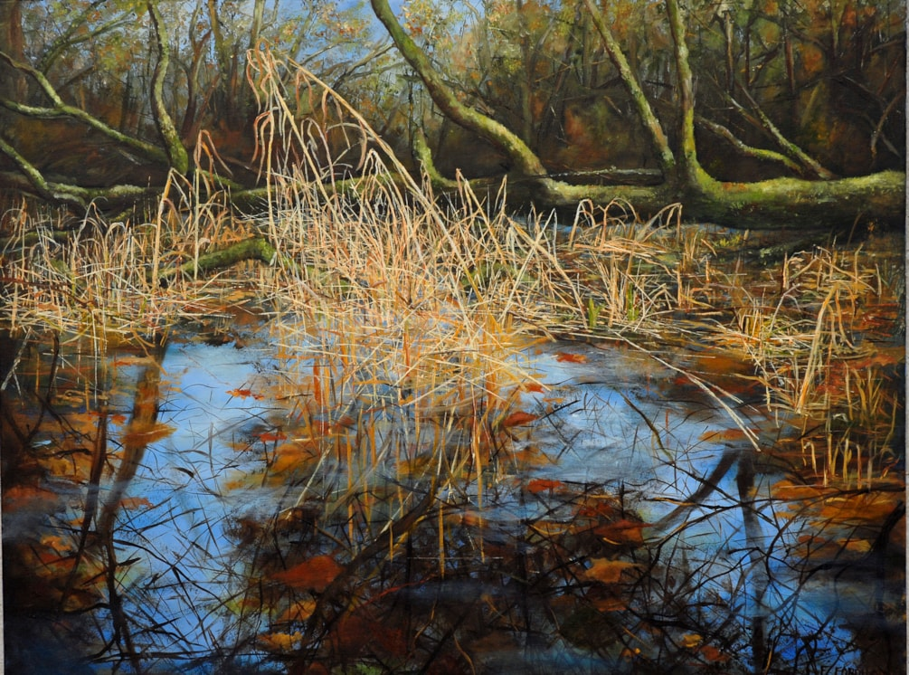 Morning Burrator Reflections, Oil On Canvas, 710 x 915 cm ( 28x36) 2020, www.eddiefordham