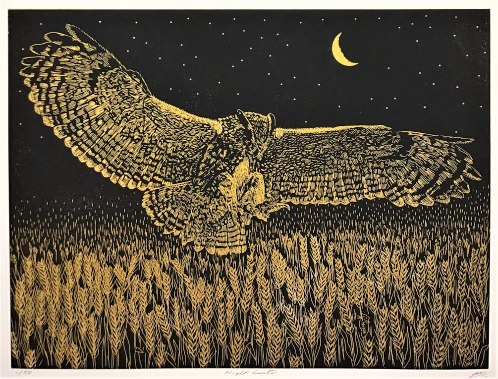 Night hunter (black over gold) by Margaret Mallows