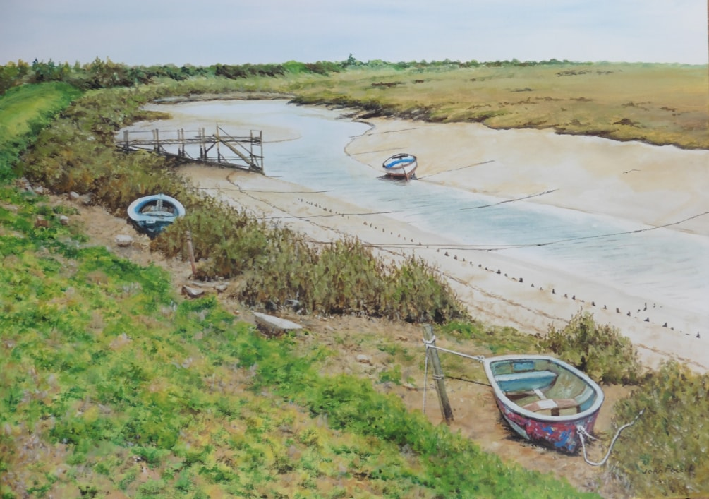 Norfolk channel at low tide