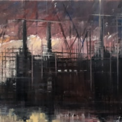 OIL317 21 BEFORE THE LAST SUNSET, BATTERSEA 60X40 ABL