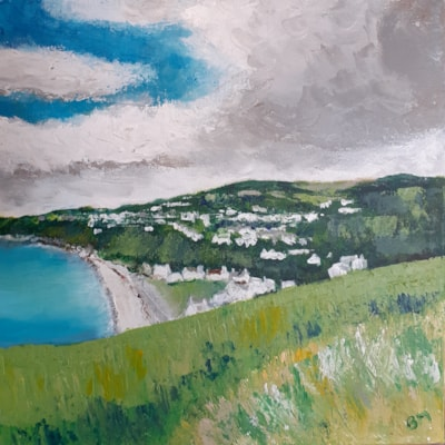 Old Laxey - View from the Manx Electric Railway - Acrylic on square canvas - May 4th 2021