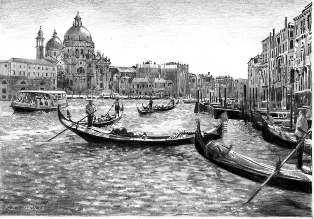 On the grand canal (pencil drawing)