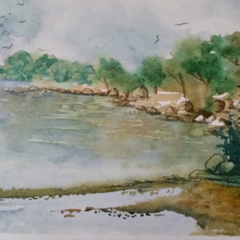 Pebble beach - watercolor - cm 32 x 49