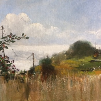 Picking Blackberries at the Lookout 8x8 oil on board