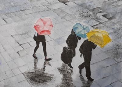 Rain - Watercolour (paint and brush pen) - April 29th 2021