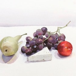 Red Grapes with Pear