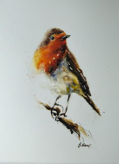 Robin, watercolour paintin by Graham Kemp.