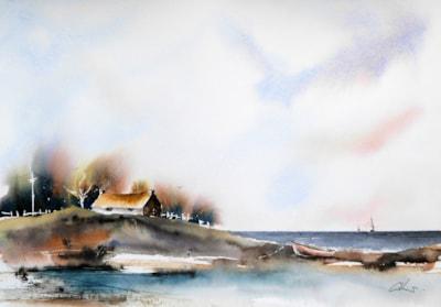 Sea Loch, watercolour painting by Graham Kemp.