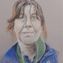 Self Portrait - Pastel Pencils on Grey Mi Tientes Paper - 10th July 2021