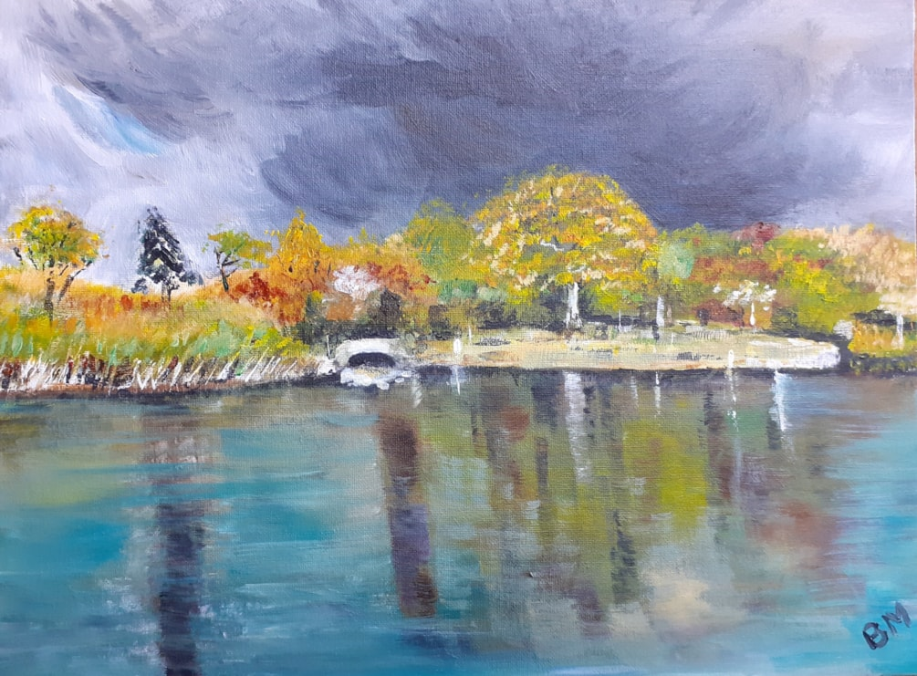 Stormchasing at Spetchley Park - June 11th 2021 - Acrylic on 16 x 12 canvas board