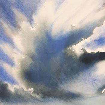 Sunlit Cumulonimbus Capillatus Cloud