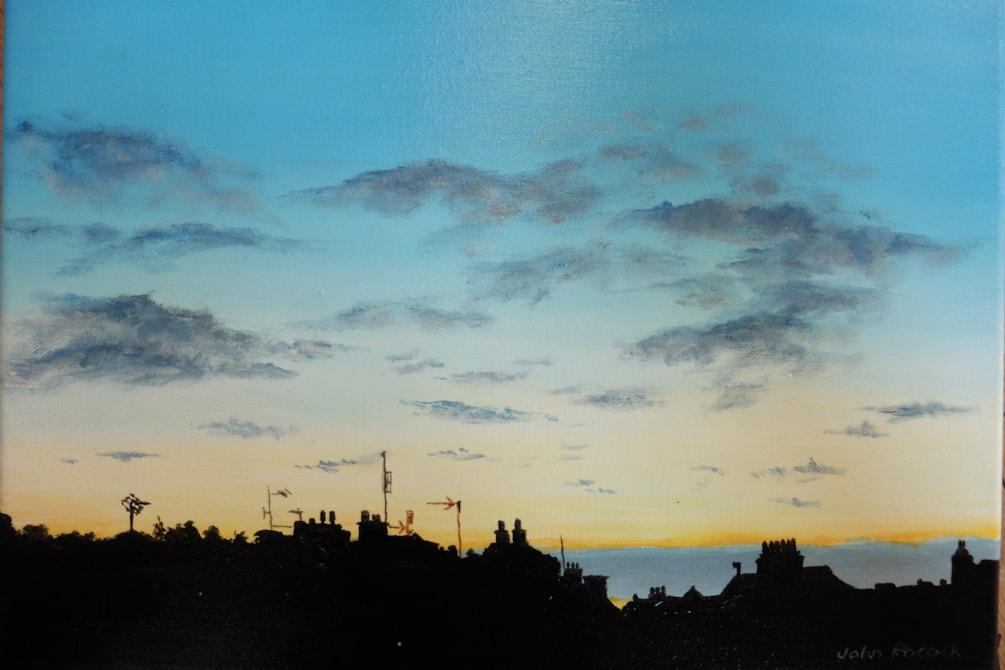 Sunset over Cromer roofs