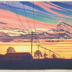 Sunset over the Fens by Margaret Mallows
