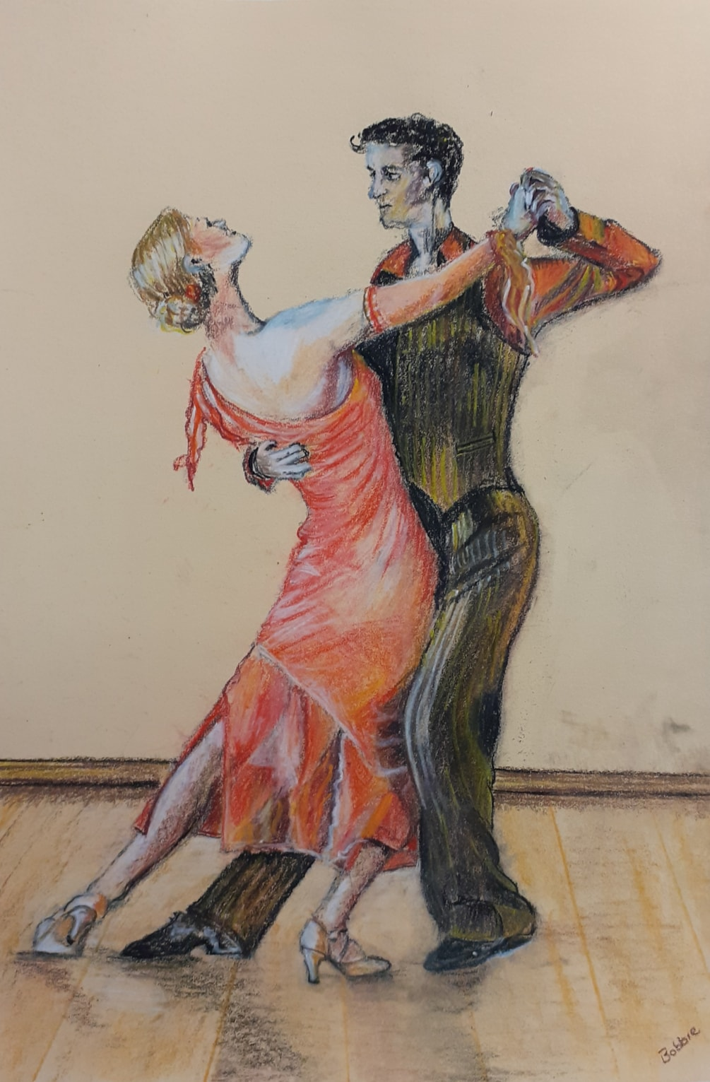 Tango - Pastel Pencil Drawing on honey coloures Mi Tientes paper - Mar 6th 2021