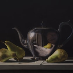 Tea Pot and Pears painting