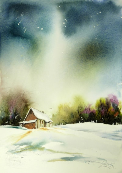 The Cottage on the edge of the Wood. Watercolour by Graham Kemp.