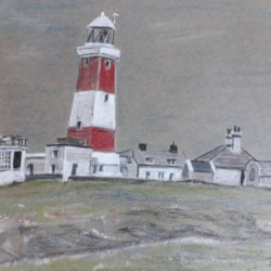 The Lighthouse Bardsey Island - Pastel - Oct 2019
