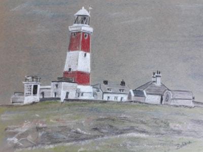 The Lighthouse Bardsey Island - Pastel - Oct 2019