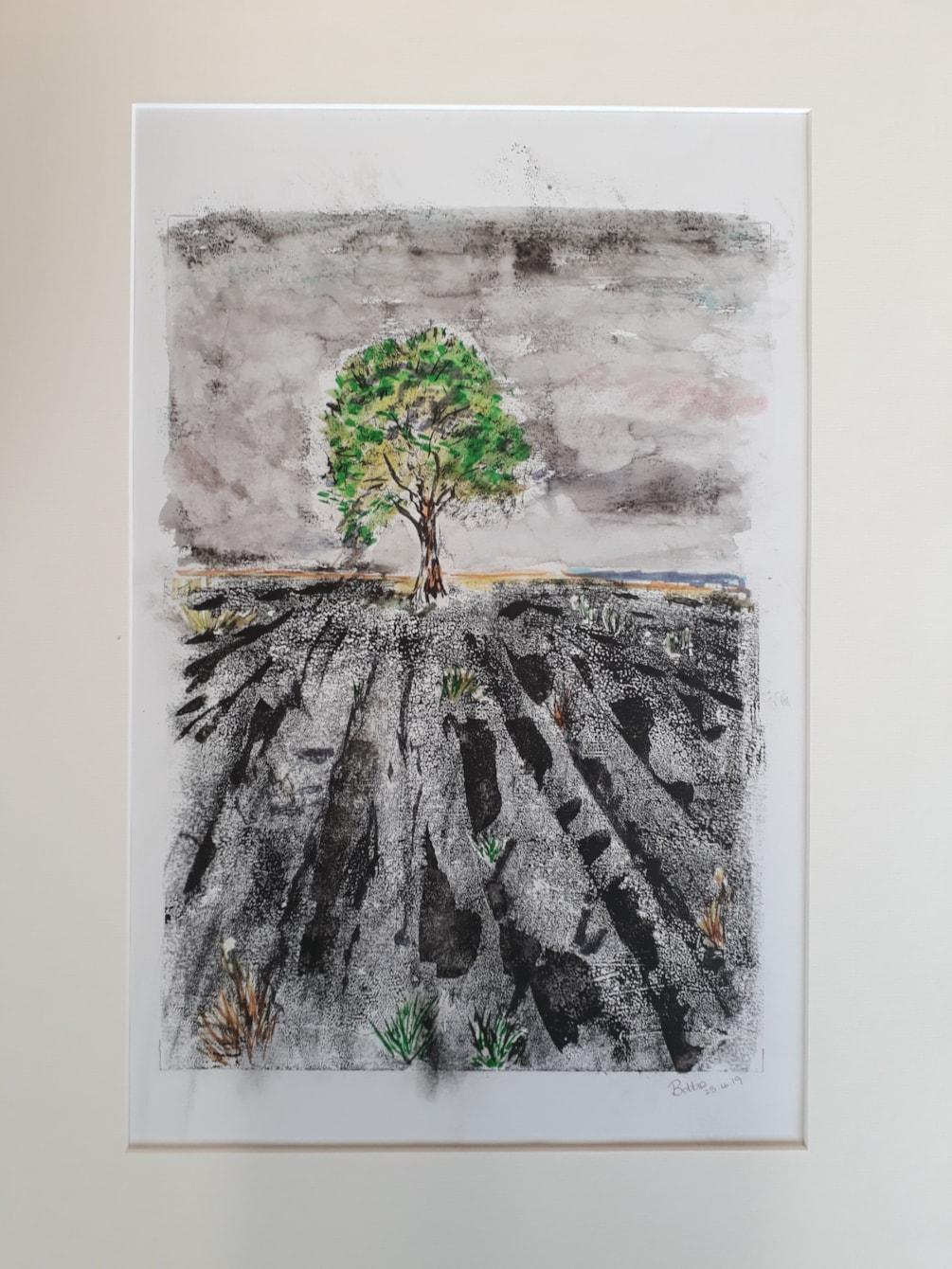 The Malham Tree - Mixed Media (Monoprint) - V1 with Mount