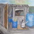 The Potting Shed - Mixed Media (Acrylic and Oil Pastel) - April 4th 2021